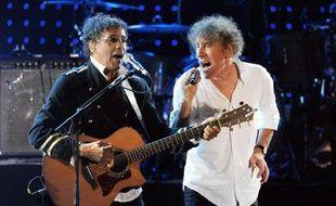 Laurent Voulzy et Alain Souchon sur scène les de la 26e édition des Francofolies de La Rochelle, le 15 juillet 2010