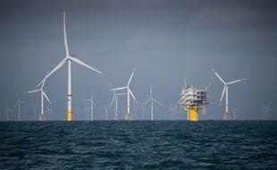 Illustration du parc éolien au large d'Ostend, en Belgique, construit par le consortium Eneco.