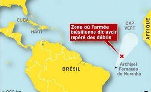 La zone où l'Airbus Rio-Paris d'Air France a disparu aurait été localisée, le 2 juin 2009.