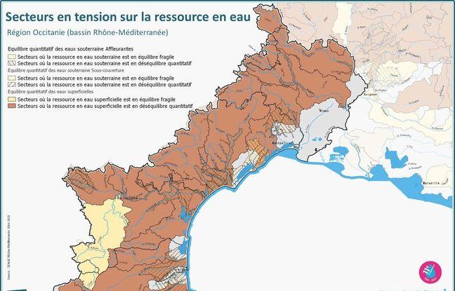 Dans le Languedoc et le Roussillon, la quasi totalité de la ressource en eau est en tension.
