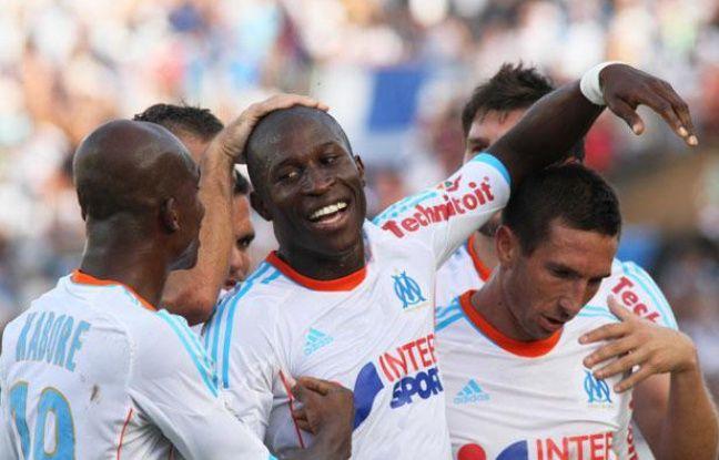 L'OM fête le deuxième but de Rod Fanni face à Sochaux, le 20 août 2012, au stade Vélodrome.