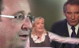 Capture d'image représentant, de gauche à droite, François Hollande, Marine LePen et François Bayrou, candidats à l'élection présidentielle de 2012.