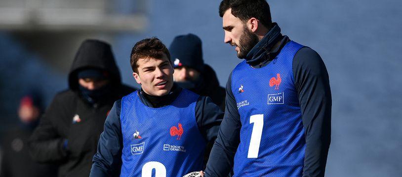 Antoine Dupont et Charles Ollivon, ici à l'entraînement à Marcoussis, ont tous les deux été testés positifs au Covid-19.