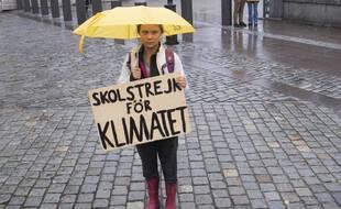 Greta Thunberg manifeste le 15 octobre 2021 à Stockholm dans le cadre du mouvement qu'elle a lancé.