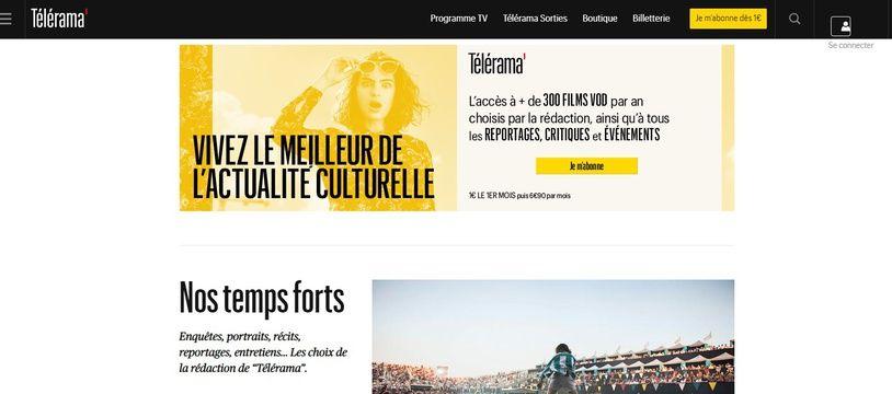 Capture d'écran du site  de «Télérama».