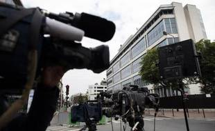 Vue extérieure en date du 1er juin 2014 des locaux de la Direction générale de la sécurité intérieure (DGSI) à Levallois-Perret, où Mehdi Nemmouche est en garde à vue