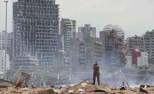 Un soldat sur les lieux de la double explosion à Beyrouth, le 6 août 2020. (illustration)