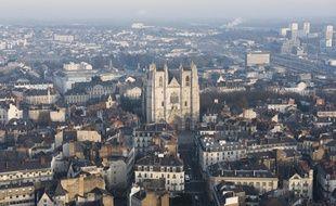 Vue de la ville de Nantes lors de l'épisode de pollution de janvier 2016