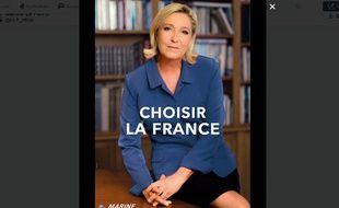 Capture d'écran de l'affiche de campagne publiée sur le compte Twitter de Marine Le Pen.