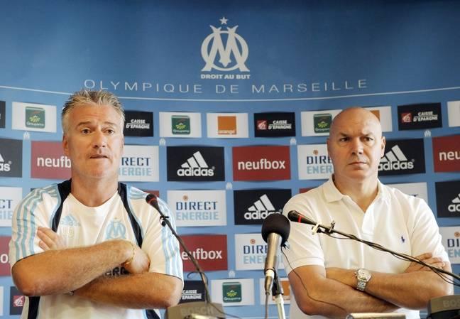 Didier Deschamps et José Anigo en conférence de presse à Marseille en 2009