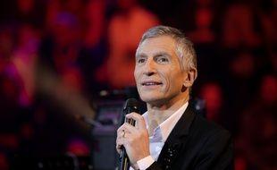 Le présentateur et animateur Nagui lors de l'enregistrement de l'émission Taratata au profit du Téléthon à Paris, le 1è janvier 2019