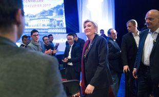 La présidente du Front national Marine Le Pen lors d'Assises présidentielles du parti le 4 février 2017 à Lyon