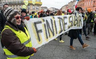 Des gilets jaunes manifestent à Toulouse le 6 janvier 2019.