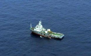 Une capture d'écran montre un navire cherchant des débris du vol MS804 en Méditerranée le 21 mai 2016