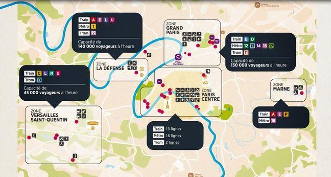 Les quatre sites olympiques franciliens de la candidature Paris 2024 et leur connexion au réseau de transports en commun.