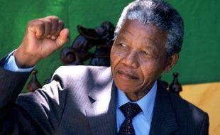 Nelson Mandela, le jour de sa libération après 27 ans passés dans les prisons sud-africaines, Le Cap, le 11 février 1990.