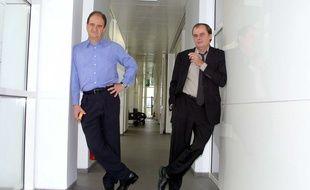 Alain de Greef (à droite) et Pierre Lescure, deux des fondateurs de Canal +.