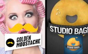 Les logos des collectifs vidéo Golden Moustache et Studio Bagel