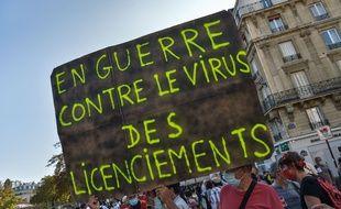 Une pancarte lors de la manifestation du 17 septembre 2020, à Paris.