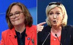 Nathalie Loiseau (LREM) et Marine Le Pen (RN) le 24 mai 2019, pour le dernier meeting de campagne des européennes.