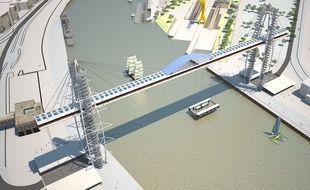 Vue aérienne du projet de pont à transbordeur