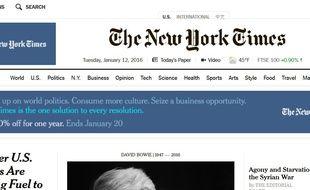 Page d'accueil du site Internet du «New York Times».