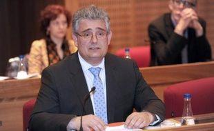 Pascal Coste (UMP-UDI) lors de son élection à la présidence de de l'assemblée départementale le 2 avril 2015 à Tulle
