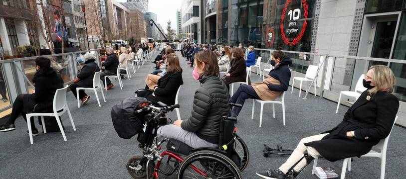 La cérémonie d'hommage aux victimes des attentats de Bruxelles, cinq ans après, le 22 mars 2021.
