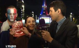 Sophie Tisser, militante à Nuit Debout, opposée à la loi Travail, intervient en direct sur beIN Sport, le 19 juin 2016.
