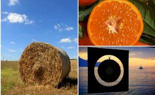 Tous les ronds sont dans la nature : une meule de foin, une orange, un panneau sur le lac Léman