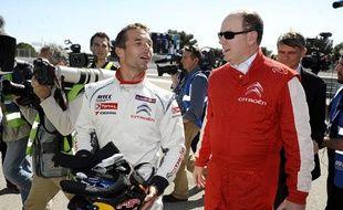 Sébastien Loeb et le Prince Albert de Monaco le 19 avril 2014 au Castellet (FIA World Touring Car Championship)