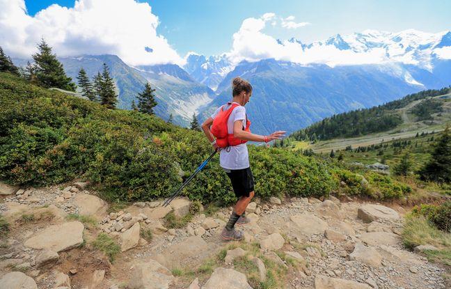 Courtney Dauwalter en action, samedi, sur le mythique tracé de l'Ultra-Trail du Mont-Blanc (171 km, 10.000 m de dénivelé positif).
