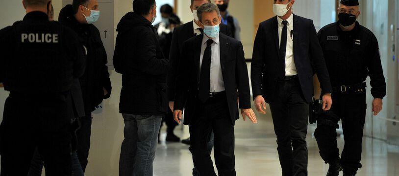 Nicolas Sarkozy lors de sa première comparution devant un tribunal correctionnel en décembre 2020.
