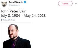 Le YouTubeur John Peter Bain, alias Totalbiscuit, est mort jeudi24 mai 2018 des suites d'un cancer de l'estomac.