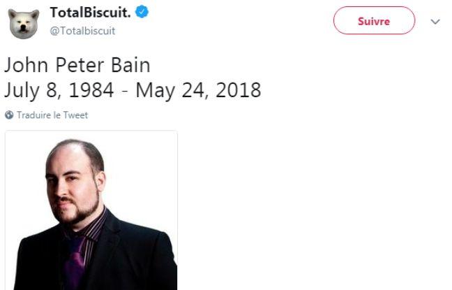 Le Youtubeur jeux vidéo John Peter Bain, alias Totalbiscuit, est décédé
