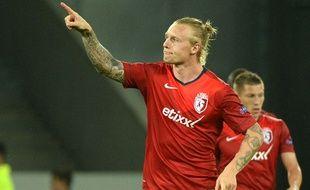 Le défenseur lillois Simon Kjaer contre Krasnodar le 18 septembre 2014.