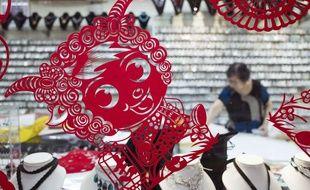 Une décoration du Nouvel an représentant une chèvre, le 15 janvier 2015 en Malaisie.