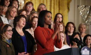 Michelle Obama donne son dernier discours de First Lady à la Maison blanche le 6 janvier 2017.