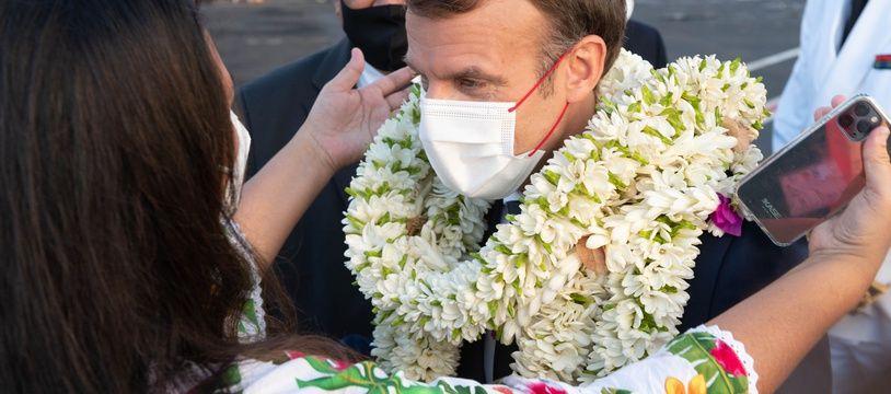 Emmanuel Macron à son arrivée à Papeete, le 24 juillet 2021.