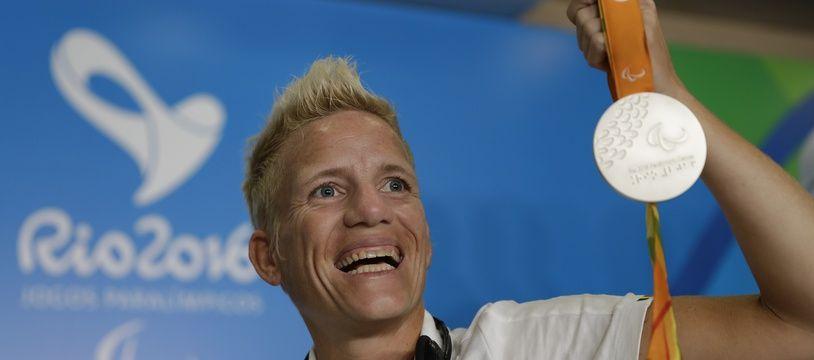 L'athlète paralympique belge Marieke Vervoort, lorsqu'elle avait remporté la médaille d'argent sur 400m, le 11 septembre 2016.