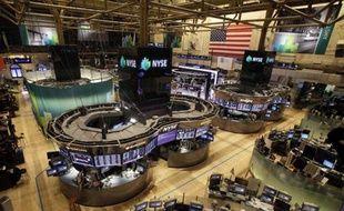 Le rez-de-chaussée de la Bourse de New York, vide de tout trader, le 29 octobre 2012, à l'appoche de l'ouragan Sandy.