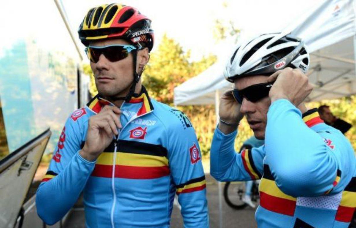 La Belgique, qui aligne Philippe Gilbert et Tom Boonen, prend le peloton en tenaille dans le Championnat du monde annuel, long de 267 kilomètres dimanche sur le parcours de Valkenburg dans le sud des Pays-Bas. – Franck Fife afp.com