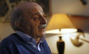 Walid Jumblatt en conférence de presse le 21 janvier 2011, à Beyrouth.
