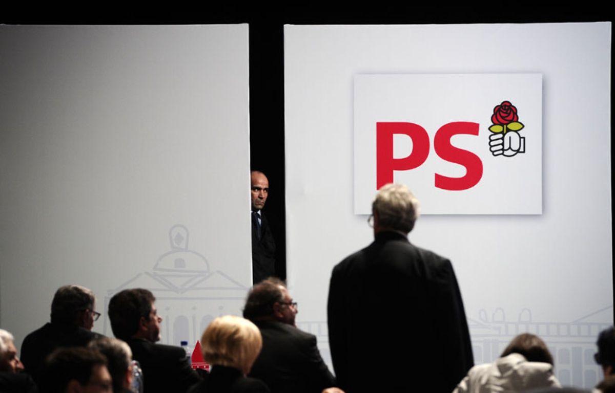 Illustration du logo du PS lors du congrès de Toulouse le 27 octobre 2012. – L. BONAVENTURE / AFP