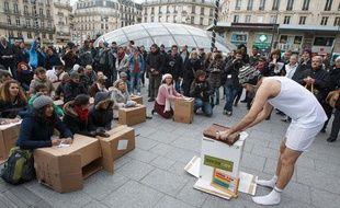 Mardi 4 février 2014, des enseignants des Hauts-de-Seine ont organisé un happening pour dénoncer la baisse des moyens dans l'éducation prioritaire.