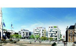Esquisse (sous réserve d'évolution du projet) de la place de l'hôtel de ville de Rezé transformée.