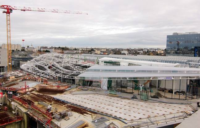 Le chantier de construction de la nouvelle gare à Rennes, ici le 27 novembre 2017.