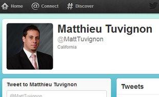 Capture d'écran du compte Twitter de Matthieu Tuvignon, disparu le 12 juillet 2012 en Californie.
