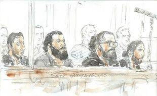 Un croquis d'audience fait le 30 mai 2016 lors du procès à Paris de sept Strasbourgeois dont le frère d'un kamikaze du Bataclan