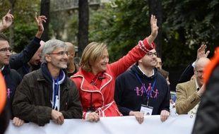 Ludovine de la Rochère, présidente du collectif de la Manif pour tous, défile le 5 octobre 2014 à Paris